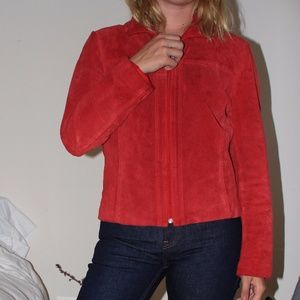Vintage Red Suede Leather Jacket