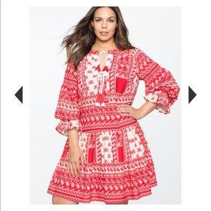 Eloquii---Gathered Sleeve Boho Dress