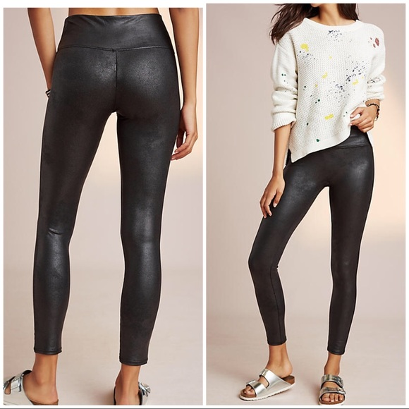 e60c749b407dfa Anthropologie Pants | Euc Spanx Faux Leather Black Leggings Pant ...