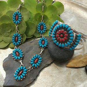Vintage Sterling Zuni Turquoise Coral Necklace