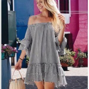 Zara off the shoulder striped mini dress