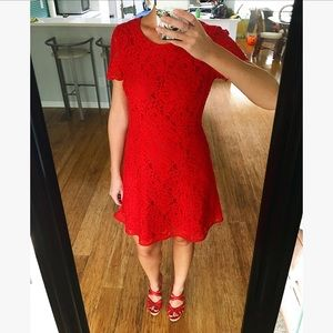 Red lace dress