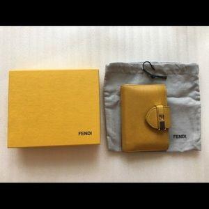 Fendi Anna Flap Mustard Small Wallet Card Case