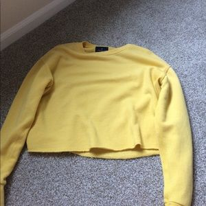 american eagle yellow long sleeve crop top
