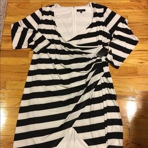 Eloquii Assymetrical Low Cut Faux Wrap Dress (14)