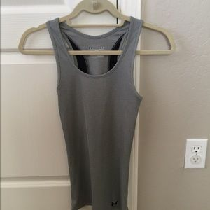 Gray Fitted Heat Gear Tank from Under Armour