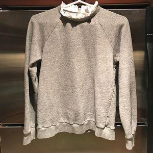 Grey J. Crew Ruffle Neck Sweatshirt