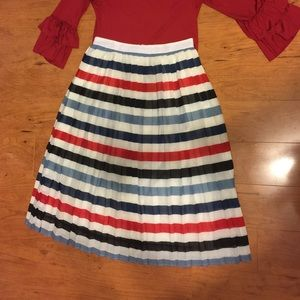 Red white An blue pleated skirt