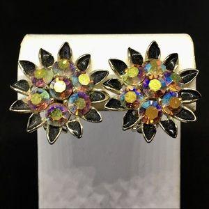 Lisner Enamel & Rainbow Stone Earrings