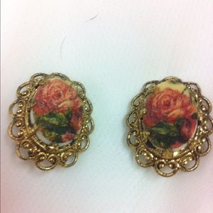 1950's sugar coated lucite clip earrings