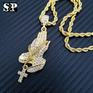 """Other - ICED OUT PRAYER'S HANDS CZ PENDANT, 24"""" ROPE CHAIN"""