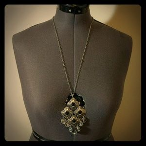Silver boho long medallion necklace with coins