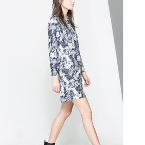 ZARA GREY FLORAL SCUBA DRESS