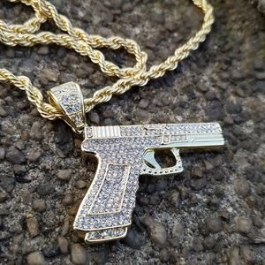 """Other - Iced out Hand Gun Pendant & 5mm 30"""" Rope Chain"""
