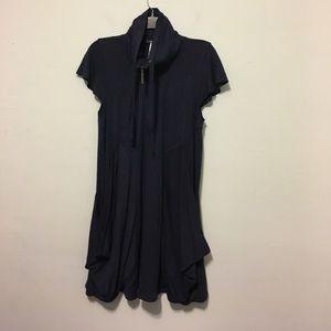 Kensie Navy Blue Draped Turtleneck Dress