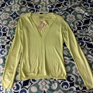 GUESS V-neck Sweater, Chartreuse Size L