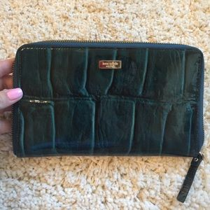 Kate Spade patent blue travel wallet