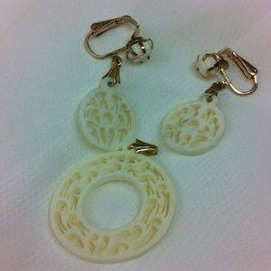1950's carved bone clip earrings & pendant