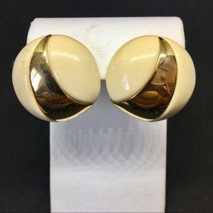 Napier Circle White & Gold Earrings
