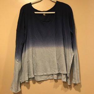 Free People Blue Ombre Long Sleeve Top Size Medium