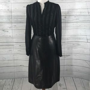 Ann Taylor Black Leather Skirt Outfit