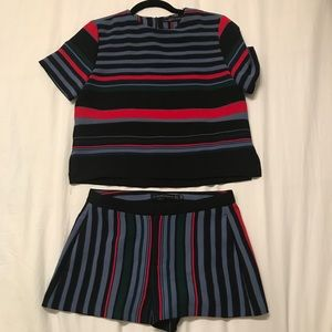 Zara Multi Colored Stripe Top + Bottom Set