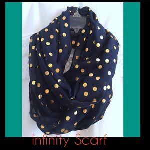 Navy Blue w/Gold Polka dot Infinity Scarf. NWT