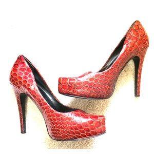 Like new red snakeskin heels