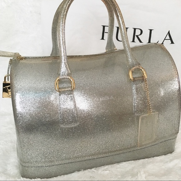 Furla Bags Limited Auth Silver Glitter Candy Bag Poshmark