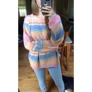 Vintage 80's Pastel Candy Knit Striped Sweater 💝