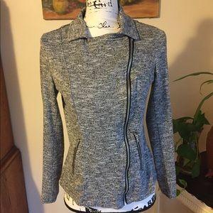 Gray and White Zip Up Sweatshirt