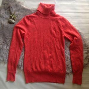 J. Crew 100% Cashmere turtleneck sweater coral Med
