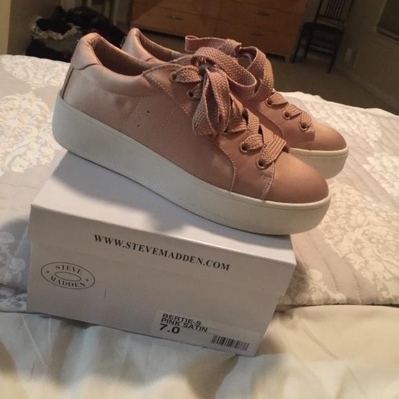 80b9d0b6a68 Steve Madden Bertie pink satin sneakers