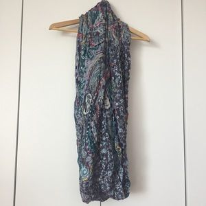 Anthropologie paisley and ribbon infinity scarf