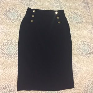 H&M Navy Pencil Skirt with gold buttons - Size 6
