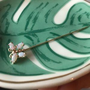 Opal butterfly pin