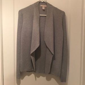 Banana Republic Drape Front grey open cardigan