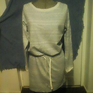 LOFT XS Women's Gray Striped Sweater Dress