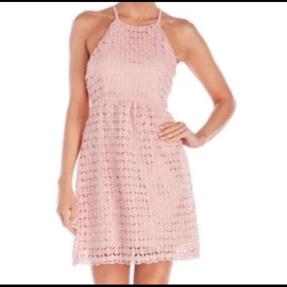 Romeojuliet Couture Dusty Pink Crochet Dress Sz L Nwt