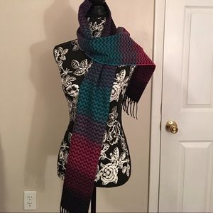 Multicolored Cashmere Feel Fringed Scarf