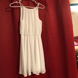 White semi formal dress, high neck size XS NWT