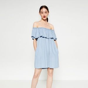 Zara Blue Denim-Effect Dress