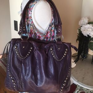 Purple B . Makowsky Leather Shoulder Bag