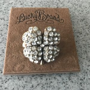 LUCKY BRAND Rhinestone Antique Gold Clover RING