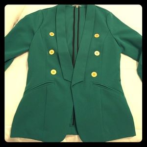 Green Blazer with Gold Buttons