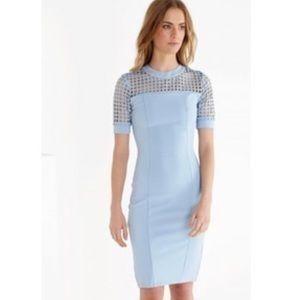 Powder blue midi dress with grid details