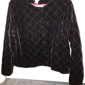 Vintage Dark Purple Quilted Belvet Bomber Jacket