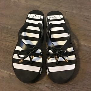 Kate Spade black and white wedge sandals