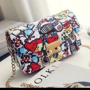Graffiti purse with chain strap