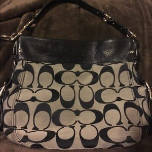 Like new black & grey Coach purse